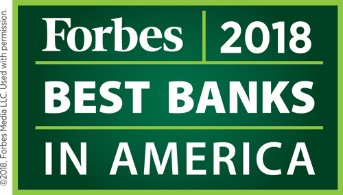 Forbes 2018 Best Banks in America.